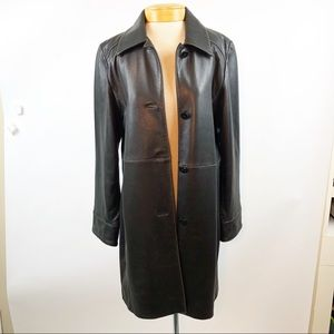 Talbots Soft Butter Leather Trench Coat Brown M